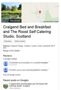 Craigend bed and breakfast on Google business