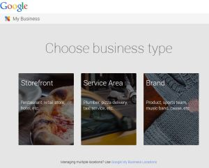 Google business types select storefront