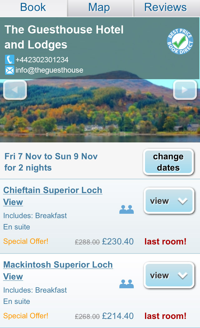 mobile booking pages for hotels