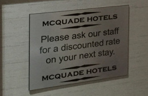 Promo Code sign at reception